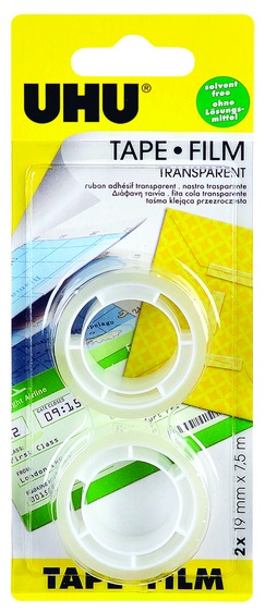 UHU TAPE FILM, transparent, 2 x refill roll Blister 19mm x 7,5m