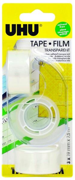 UHU TAPE FILM, transparent, dispenser + 3 Refill Rolls  19mm x 7,5m